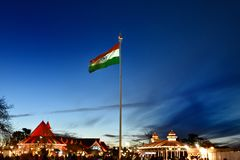 Indisk flagga på Ridge punkt i Shimla royaltyfria foton