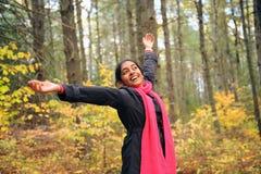 Indisk flicka i Fallsäsong Royaltyfria Foton