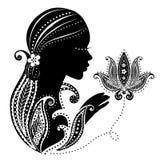 Indisk flicka med en blomma vektor illustrationer