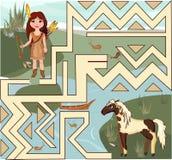 Indisk flicka och häst Royaltyfri Fotografi