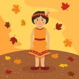 Indisk flickatecknad film för tacksägelse Arkivfoton
