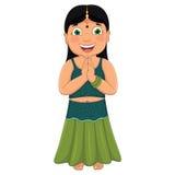 Indisk flickavektorillustration royaltyfri illustrationer