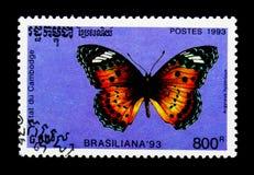 Indisk FritillaryArgyreus hyperbius, internationell Rio de Janairo för ` för stämpelfestival BRASILIANA 93 serie, circa 1993 Arkivfoton