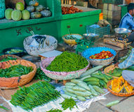 Indisk grönsakmarknad Arkivfoto