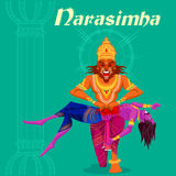 Indisk gud Narasimha som dödar Hiranyakashipu Arkivbild