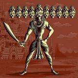 Indisk gud Ravana med svärdet Royaltyfri Fotografi