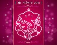 Indisk gudganesha, lyckligt ganeshchaturthikort Royaltyfri Foto