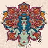 Indisk gudinna Kali med två ormar på traditionell mandalarundamodell Royaltyfri Bild