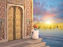 Indisk guld- dörr Royaltyfri Bild