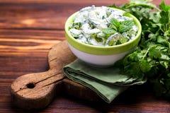 Indisk gurkaraita med yoghurt, mintkaramell, koriander Grekisk tzatzi Royaltyfri Foto