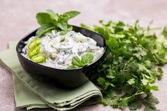 Indisk gurkaraita med yoghurt, mintkaramell, koriander Grekisk tzatzi Arkivfoton