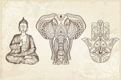 Indisk hand drog Hamsa med allt seende öga Royaltyfri Bild