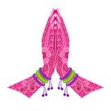 Indisk hand i hälsningställing vektor illustrationer