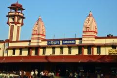 Indisk järnvägsstation Arkivbild