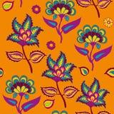 Indisk Kalamkari sömlös modell på orange arabiskaPasley backround som upprepar modellen som bor korall- och turkosfärg royaltyfri illustrationer