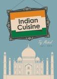 Indisk kokkonst för banerrestaurang med Taj Mahal stock illustrationer