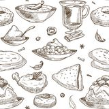 Indisk kokkonst skissar modellbakgrund seamless vektor för design stock illustrationer