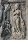 Indisk konst på stenar, Ellora Caves Royaltyfria Foton