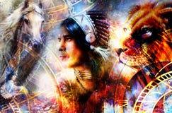 Indisk krigare som bär en ursnygg fjäderhuvudbonad Indiskt ande- och tidbegrepp och hore, lejon, örn kosmiskt royaltyfri illustrationer