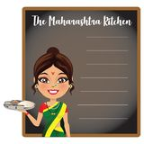 Indisk kvinna från tillståndet av maharashtraen i en traditionell saree som framme tjänar som traditionell Maharashtrian mat av e stock illustrationer