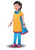 Indisk kvinna i salwar kameez stock illustrationer