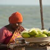 Indisk kvinna som säljer mangofrukter Arkivbild