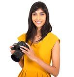 Indisk kvinnakamera Fotografering för Bildbyråer