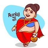 Indisk kvinnavektorillustration royaltyfri illustrationer