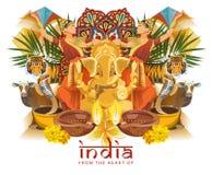 Indisk loppmall Från hjärtan av Indien Vektorillustrationen i tappning utformar royaltyfri illustrationer