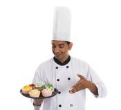 Indisk manlig kock Arkivbild