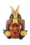 Indisk Mayan Aztec keramisk målad maskering som isoleras på vit Royaltyfri Fotografi