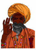 Indisk meditation på vit bakgrund Arkivbilder
