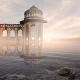 Indisk monument i misten Royaltyfri Foto