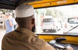 Indisk muslimsk auto Rickshawchaufför Arkivbilder