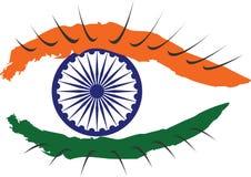 Indisk nationsflagga som visas i form av ett öga Arkivbild