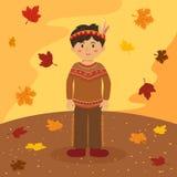 Indisk pojketecknad film för tacksägelse Royaltyfria Foton