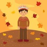 Indisk pojketecknad film för tacksägelse Arkivfoton