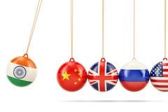 Indisk politisk konflikt med det Kina begreppet framförande 3d royaltyfri illustrationer