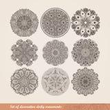 Indisk prydnad för vektor, kalejdoskopisk blom- modell, mandala S vektor illustrationer