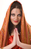 indisk röd sjal för flicka Royaltyfri Foto