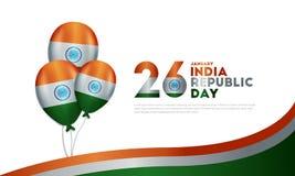 Indisk republikdag 26 för bakgrund januari stock illustrationer