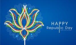 Indisk republikdagberöm med tricolor lotusblomma Arkivfoton