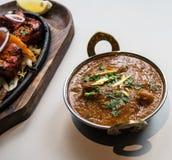 Indisk restaurang och indiernärmare detaljmat Fotografering för Bildbyråer