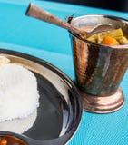 Indisk restaurang och indiernärmare detaljmat Royaltyfria Bilder