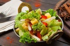 Indisk restaurangmaträtt för strikt vegetarian och för vegetarian, sallad för ny grönsak Royaltyfri Foto