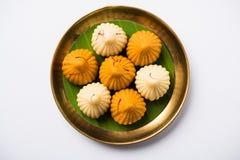 Indisk söt mat kallade modak förberedd specifikt i ganeshfestival eller ganeshchaturthi Royaltyfria Bilder