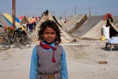Indisk schoolgirl i lägret Fotografering för Bildbyråer