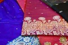 Indisk siden- Saree arkivbild