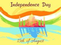 Indisk självständighetsdagen på 15th av August Poster Royaltyfri Bild