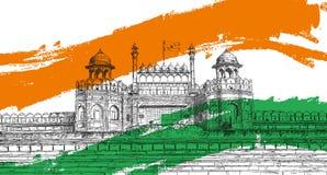 Indisk självständighetsdagen - rött fort, Indien med den Tricolor flaggan arkivbilder